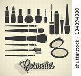 Vector Set: Vintage Make Up Silhouettes