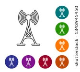 grey antenna line icon isolated ... | Shutterstock .eps vector #1343945450