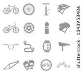 bicycle icons. gray flat design.... | Shutterstock .eps vector #1343953406