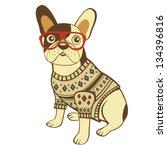 illustration of french bulldog... | Shutterstock .eps vector #134396816