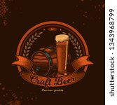 emblem of beer in vintage style.... | Shutterstock .eps vector #1343968799