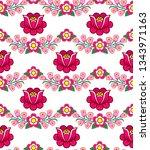 folk art seamless floral vector ... | Shutterstock .eps vector #1343971163