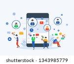 flat vector illustration social ... | Shutterstock .eps vector #1343985779