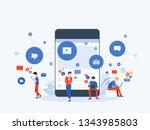 flat vector illustration social ... | Shutterstock .eps vector #1343985803