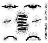 vintage sunburst ribbon banner... | Shutterstock .eps vector #1343990150