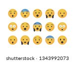 set of bad surprise  emoticon... | Shutterstock .eps vector #1343992073