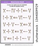 math puzzle with roman numerals ... | Shutterstock .eps vector #1344009929