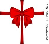 gift red bow and ribbon  | Shutterstock .eps vector #1344022529