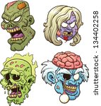 cartoon zombie heads. vector...