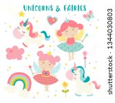 a cute set of unicorns and... | Shutterstock .eps vector #1344030803