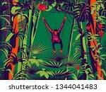 monkey sitting on a liana in... | Shutterstock .eps vector #1344041483
