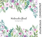 watercolor floral background | Shutterstock . vector #1344044969