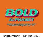 vector bold alphabet. set of 3d ... | Shutterstock .eps vector #1344050363