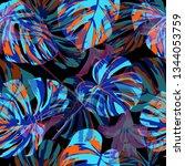 monstera pattern.  repeating... | Shutterstock .eps vector #1344053759