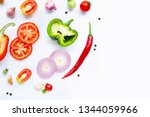 various fresh vegetables and... | Shutterstock . vector #1344059966