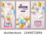 happy easter sale set of cards... | Shutterstock .eps vector #1344072896