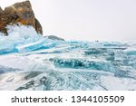 cape khoboy rock on olkhon... | Shutterstock . vector #1344105509