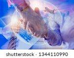 double exposure of business... | Shutterstock . vector #1344110990