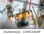 palette and paint brush in... | Shutterstock . vector #1344115649