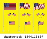 set of american flag clip art.... | Shutterstock .eps vector #1344119639