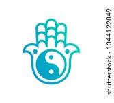 vector hamsa hand logo. hamsa... | Shutterstock .eps vector #1344122849