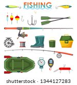 set of isolated fisherman items ... | Shutterstock .eps vector #1344127283