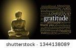 golden gratitude meditating... | Shutterstock . vector #1344138089