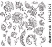 big vector set of henna floral...   Shutterstock .eps vector #1344138803
