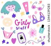 cute girly staff. vector... | Shutterstock .eps vector #1344139283