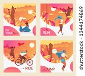 vector square cards with young... | Shutterstock .eps vector #1344174869