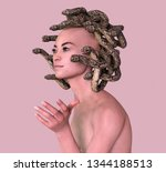 medusa computer generated 3d... | Shutterstock . vector #1344188513