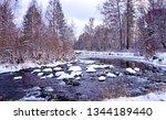 winter forest river landscape....   Shutterstock . vector #1344189440