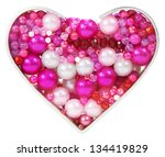 heart shape of beads and jewelry | Shutterstock . vector #134419829
