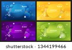 set of 4 abstract blue yellow... | Shutterstock .eps vector #1344199466