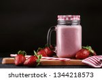 strawberries and strawberry... | Shutterstock . vector #1344218573