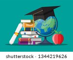 graduation cap on stuck of... | Shutterstock .eps vector #1344219626