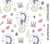 seamless pattern cute unicorn... | Shutterstock .eps vector #1344226580