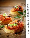 tomato bruschetta topped with... | Shutterstock . vector #134422796