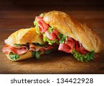 delicious salami and ham... | Shutterstock . vector #134422928