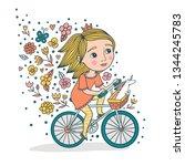 cute little princess on a bike. ... | Shutterstock .eps vector #1344245783