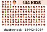 kids avatar set vector. multi... | Shutterstock .eps vector #1344248039