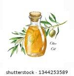 hand drawn watercolor... | Shutterstock . vector #1344253589