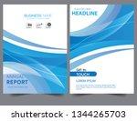 abstract brochure blue wavy... | Shutterstock .eps vector #1344265703