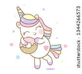 cute unicorn vector love donut... | Shutterstock .eps vector #1344266573