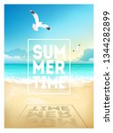 Summer Beach Background With...