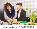 working together on project.... | Shutterstock . vector #1344283139