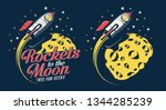 space rocket flying around the... | Shutterstock .eps vector #1344285239