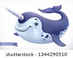 narwhal cartoon character.... | Shutterstock .eps vector #1344290510