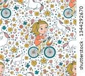cute little princess on a bike... | Shutterstock .eps vector #1344292670