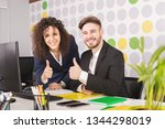 portrait of a two successful... | Shutterstock . vector #1344298019